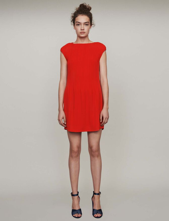 Sleeveless pleated dress -  - MAJE