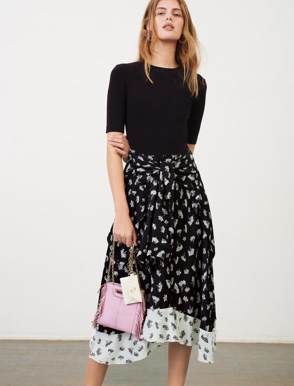 Trompe l'œil printed satin dress - The Essentials - MAJE