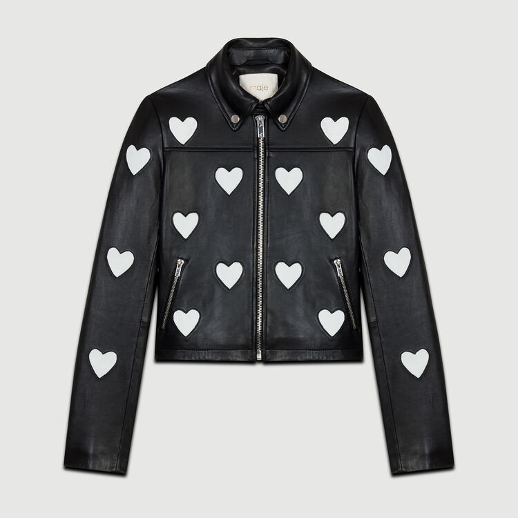 Cropped leather jacket with hearts : null color Black 210