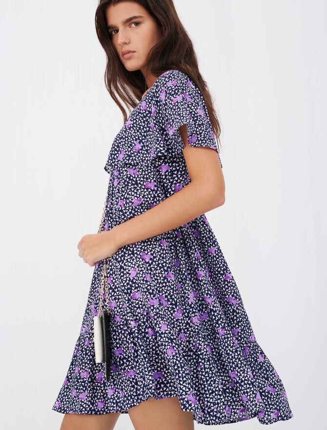 Baby doll dress in printed crêpe - Dresses - MAJE