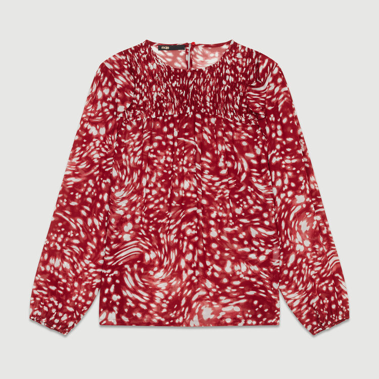 Ruffled printed blouse : Burgundy color PRINTED