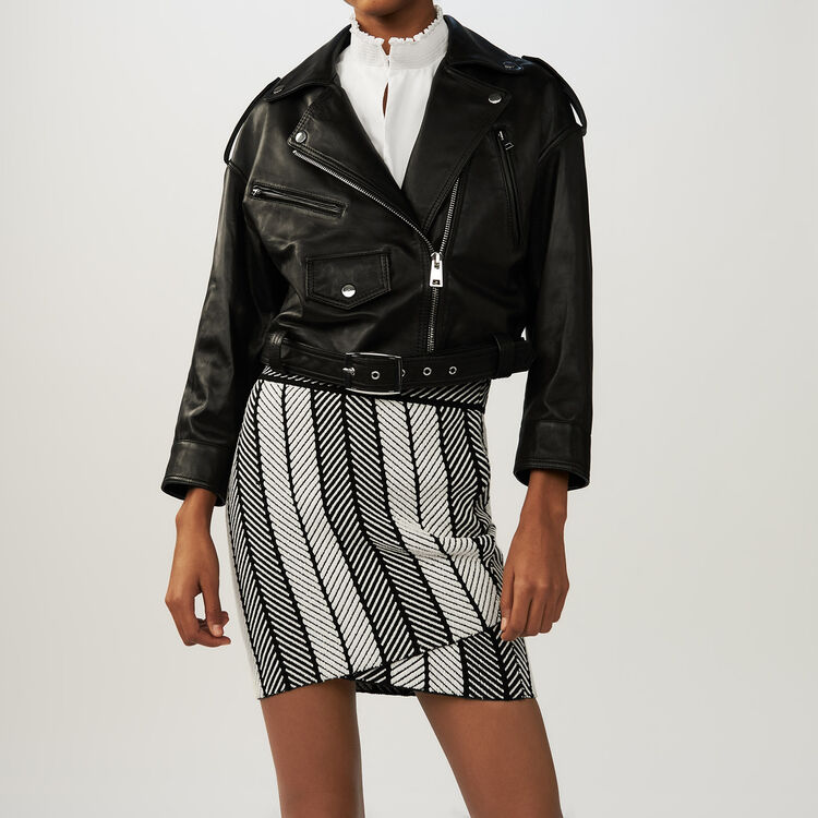 Cropped leather jacket : Jackets color Black 210