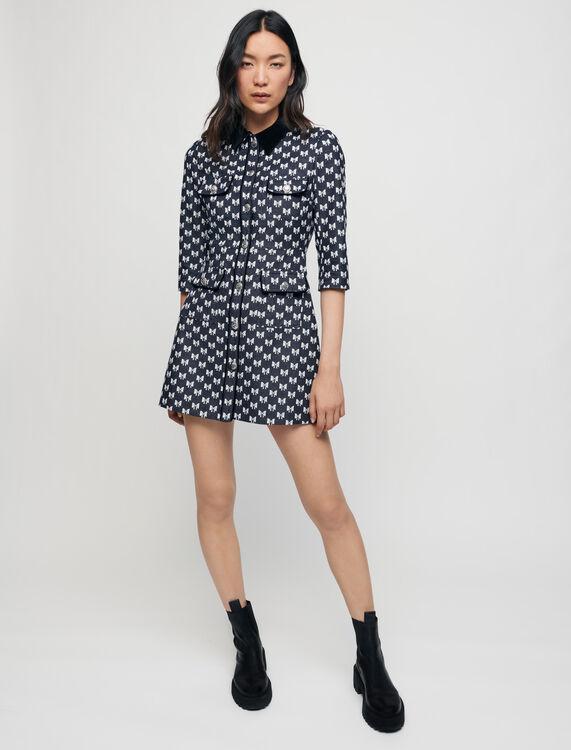 Jacquard dress with bow pattern - Dresses - MAJE