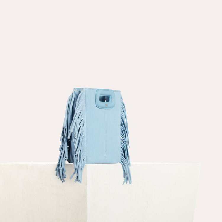 Fringed suede M minibag : Summer collection color Blue Sky