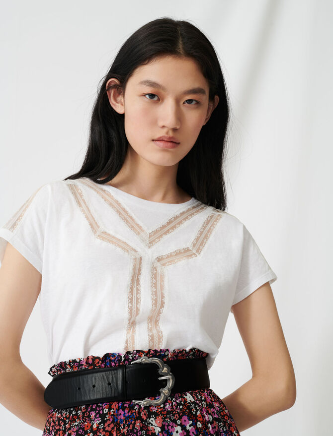 T-shirt with inlaid lace details - T-Shirts - MAJE