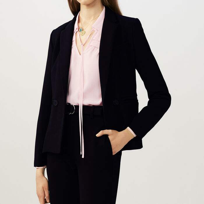 Suit-style cropped vest : Office girl color Black 210