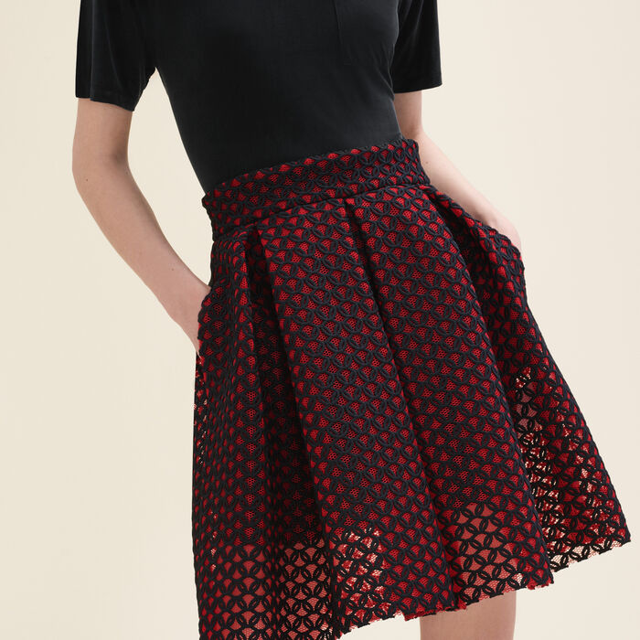 Bonded guipure skater skirt : Skirts & Shorts color Red