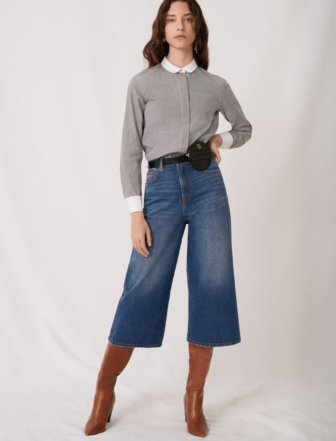 Striped poplin shirt with plain details - New collection - MAJE