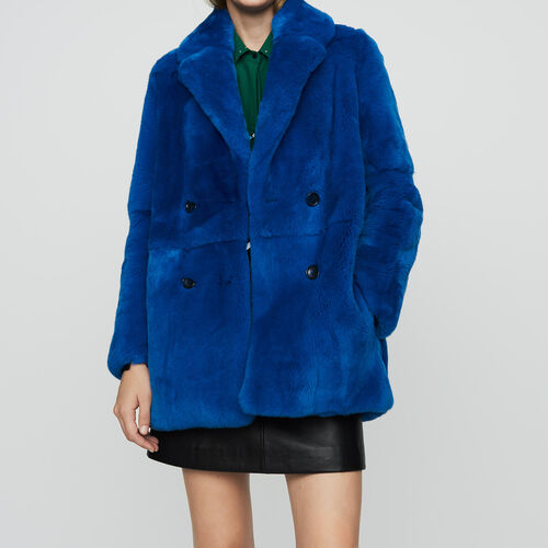 Cropped fur coat : Coats color Blue