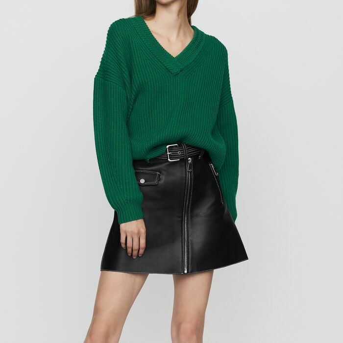 Long-sleeved, V-neck sweater : Knitwear color Black 210