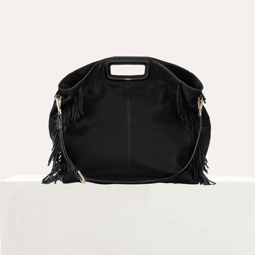 Tote with leather fringe : Other M color Black 210