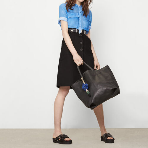 Canvas skirt with buttoning : Skirts & Shorts color Black 210