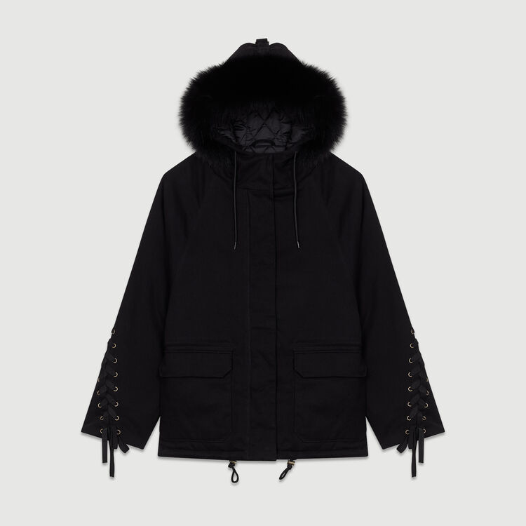 Hooded parka with lacing : Coats color Black 210