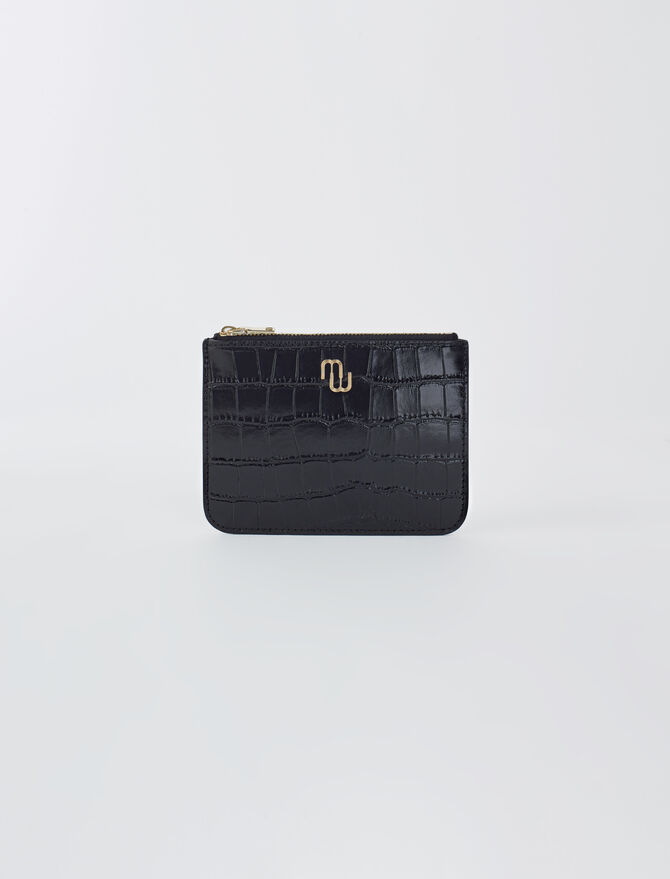 Zip-up embossed leather pouch -  - MAJE