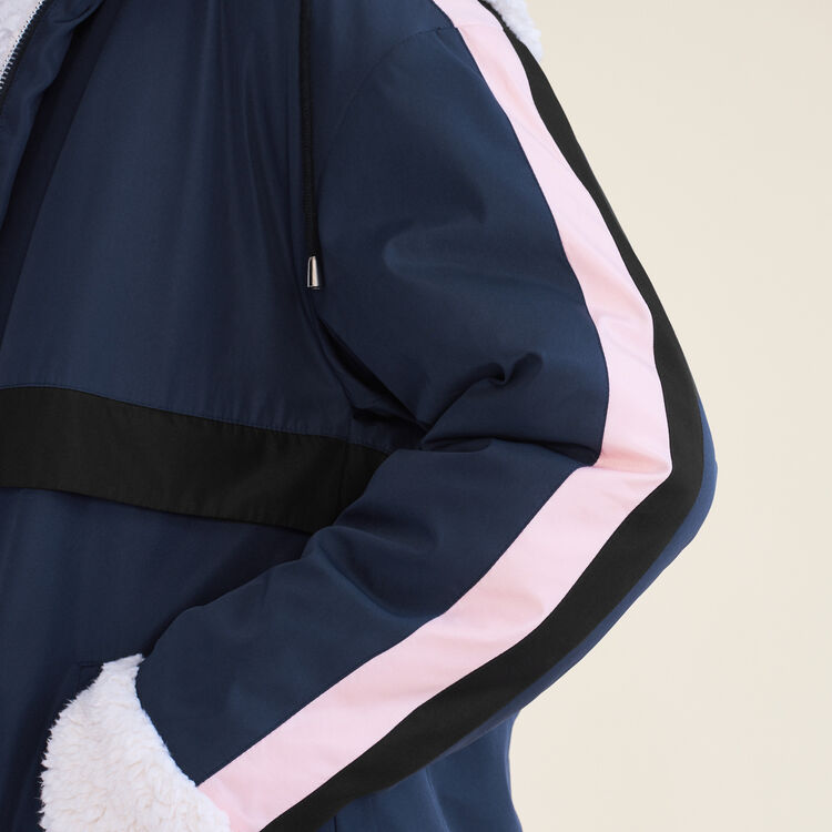 Two-tone cropped parka : Jackets & Blazers color Navy