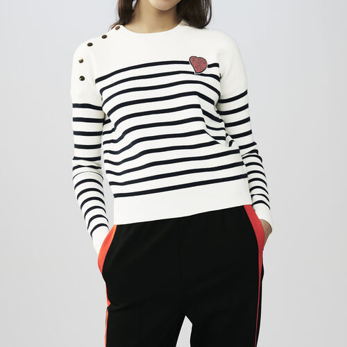 Striped jumper with heart : Knitwear color Two-Tone