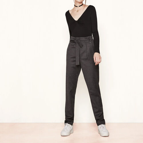Virgin wool high-waisted trousers : Trousers & Jeans color Grey