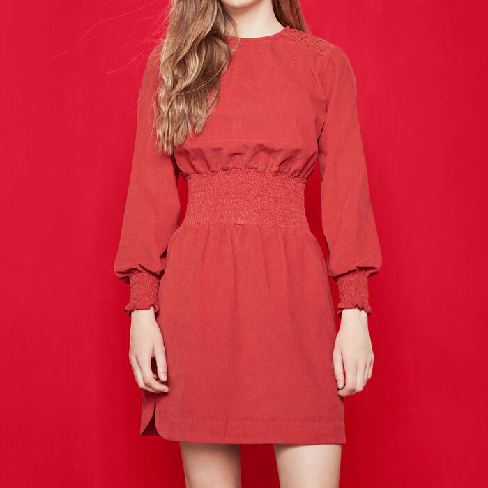 Corduroy dress with smocking : 70% off color Red