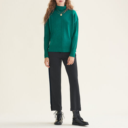 Cashmere roll-neck jumper : Knitwear color Ecru