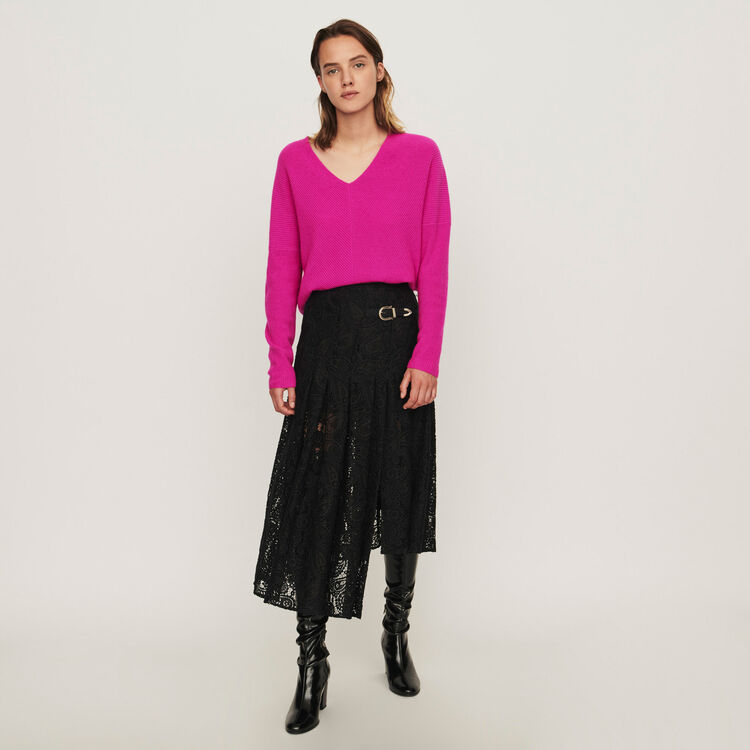 Guipure skirt with cashmere detail : Winter collection color Black
