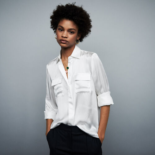 Satin silk shirt : Shirts color White