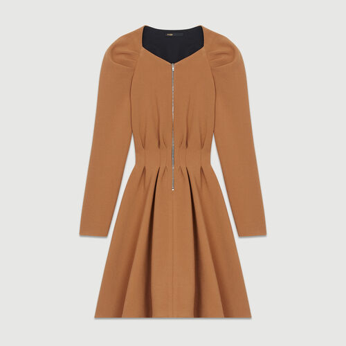 Skater dress with pleats : Dresses color Camel