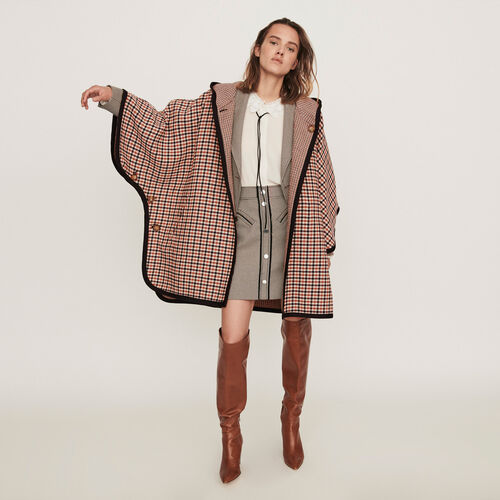 Reversible poncho coat : Coats & Jackets color CARREAUX