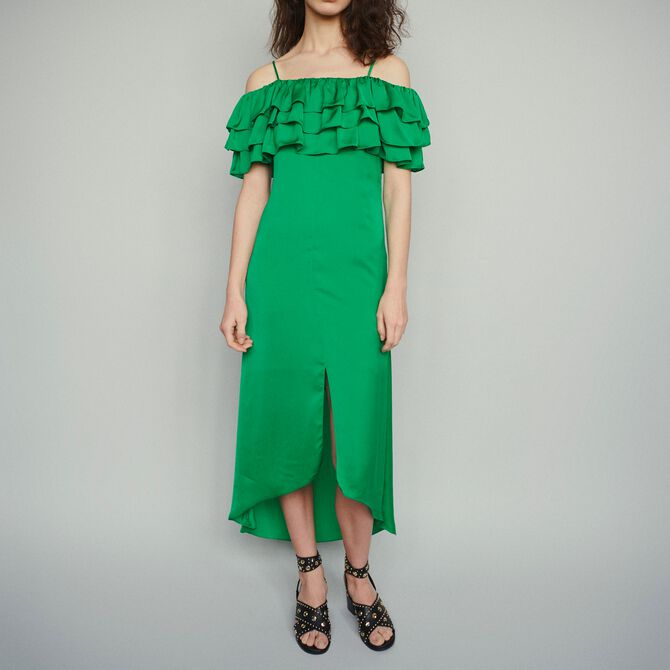 Midi dress with thin straps and ruffles - See all - MAJE