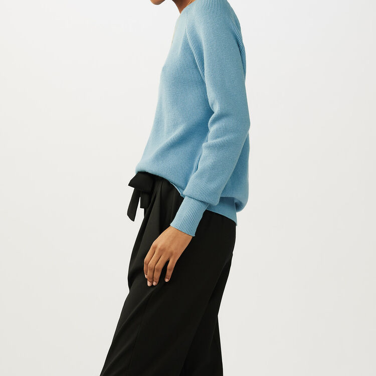 Sweater with back crossbelt : Knitwear color Blue Sky