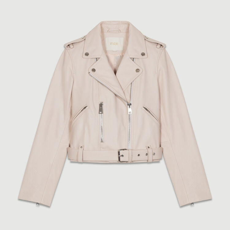 Perfecto-style leather jacket : Jackets color Nude