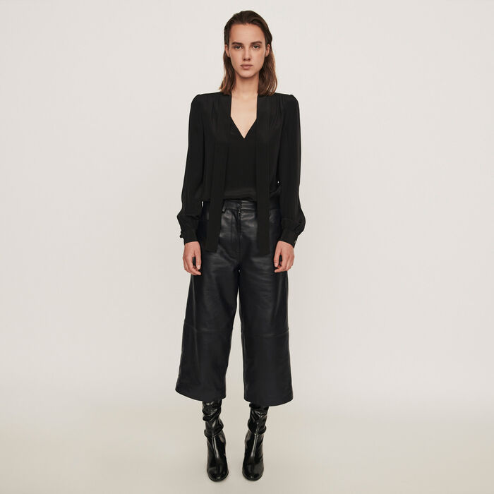 Leather bermuda-like pants : Winter collection color Black