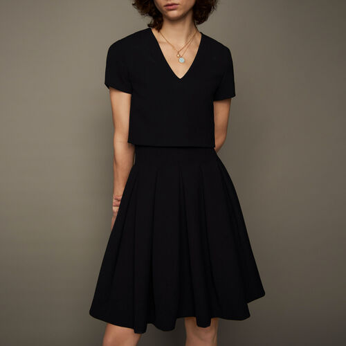 Rounded hem trompe l'oeil dress : Dresses color Black 210