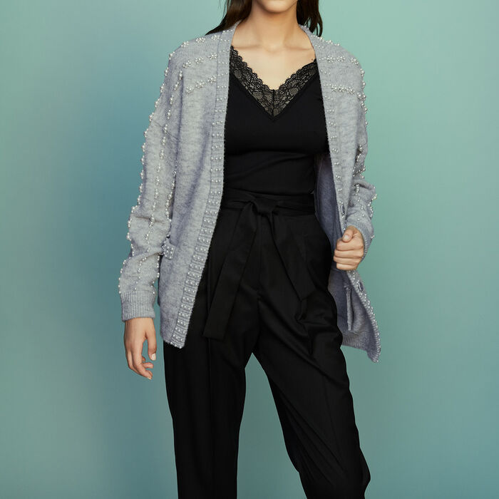 Long knit jacket with pearls : Ready to wear color Grey