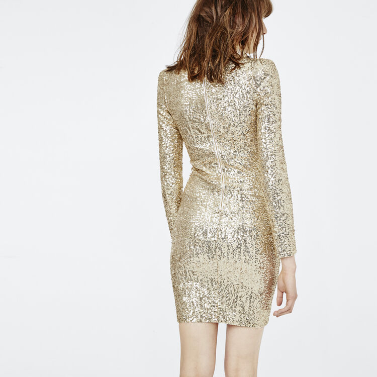 Close Fitting Dress With Golden Sequins Dresses Color Gold