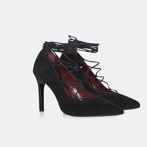 Lace up heeled court shoes : Accessories color Black 210