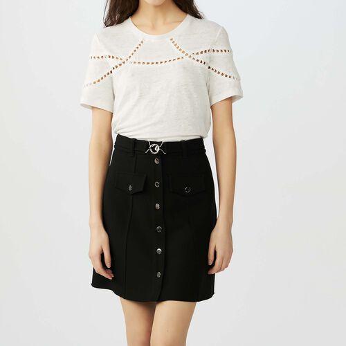 Embroidered linen t-shirt : T-Shirts color Ecru