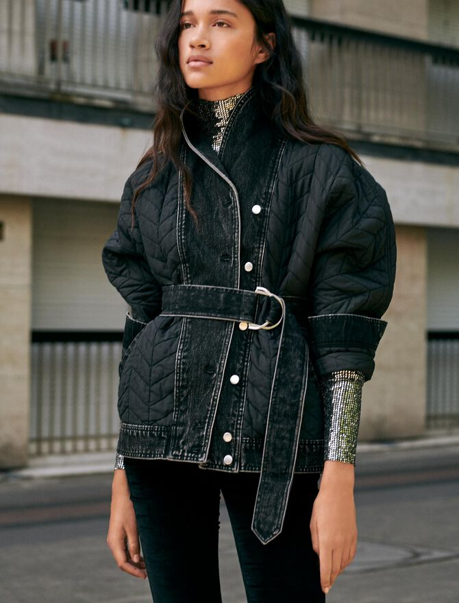 Mixed material down jacket - Coats & Jackets - MAJE