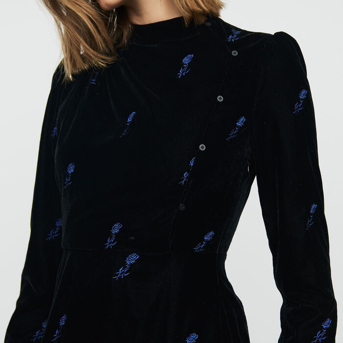 Dress with embroidered velvet : Dresses color Black 210