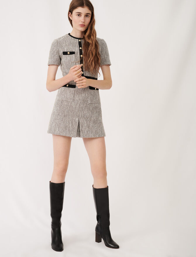 Tweed-style dress with contrast details - Dresses - MAJE