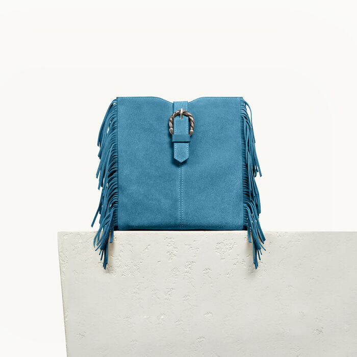 M bag in suede with scalloped buckle - -30% - MAJE