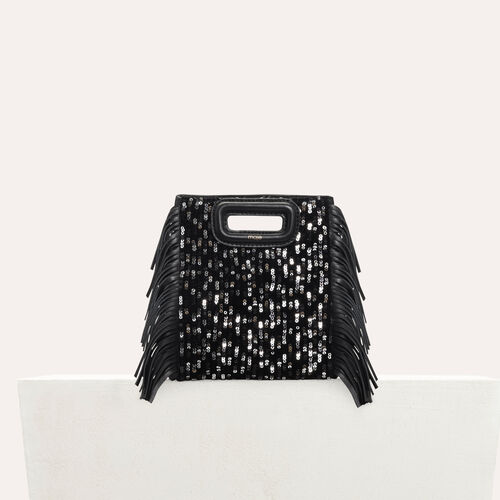 Mini M bag in leather with sequins : M Mini color Black 210