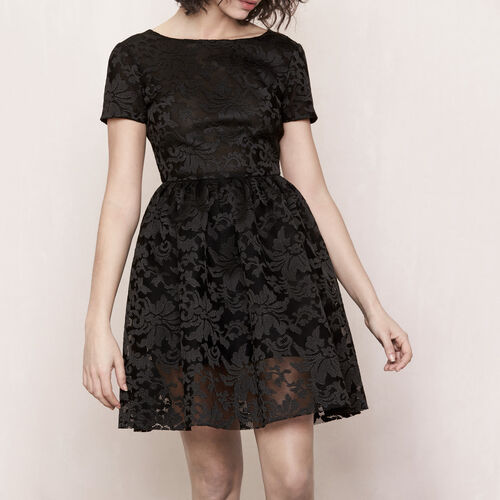 Basket knit embroidered dress : Dresses color Black 210