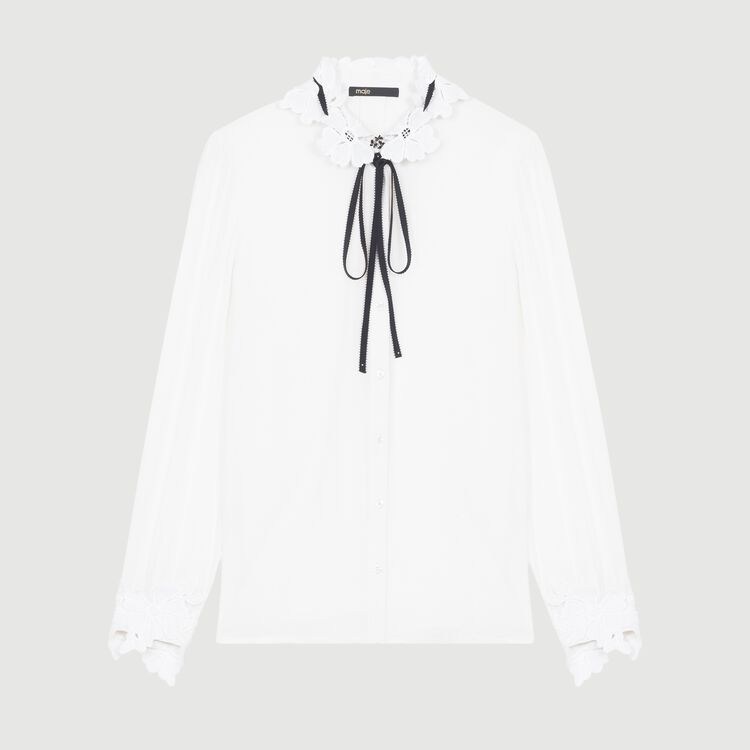 Blouse with guipure detailing : Tops & Shirts color White