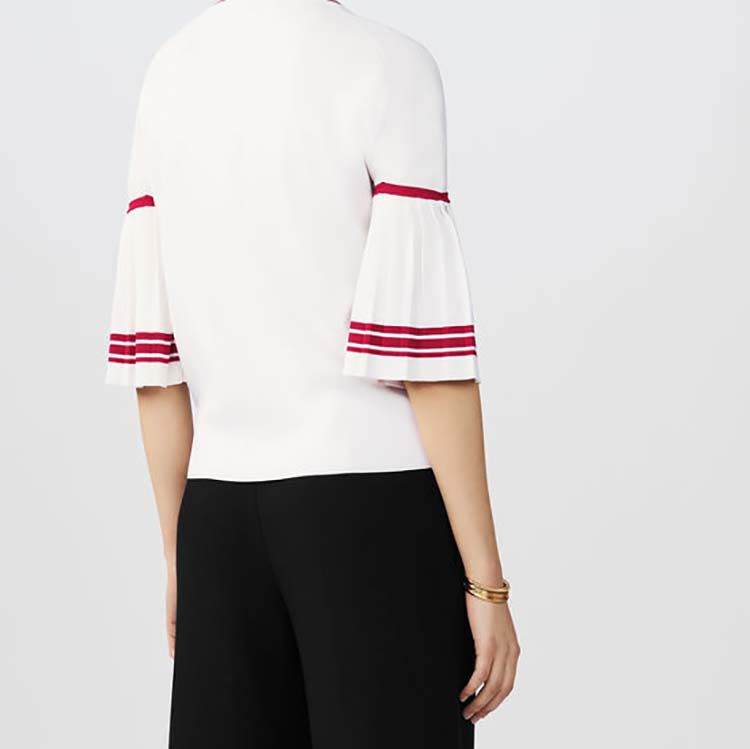 Fine-knit sweater with pleated sleeves : Knitwear color WHITE