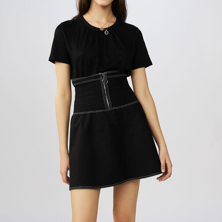 Linen t-shirt with crochet collar : T-Shirts color Black 210