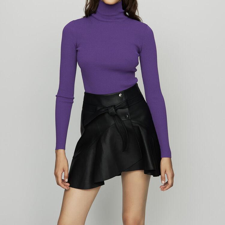 Turtleneck skinny ribbed sweater : Knitwear color Black 210