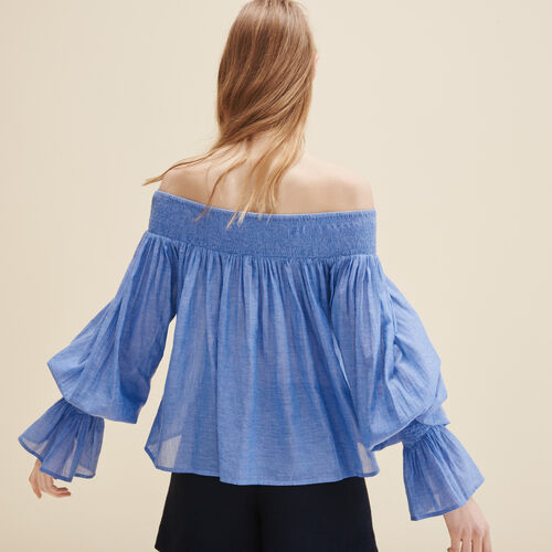Blouse with smocking : Tops color Blue