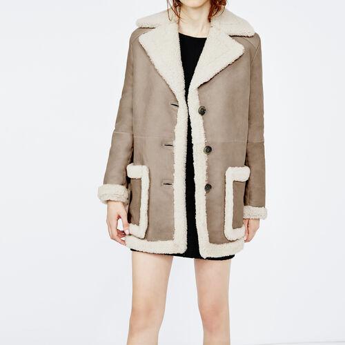 Faux treated sheepskin mid-length coat : Coats color Beige