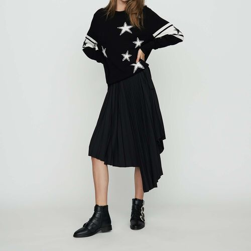 Oversize sweater in bicolor knit : Ready to wear color Black 210