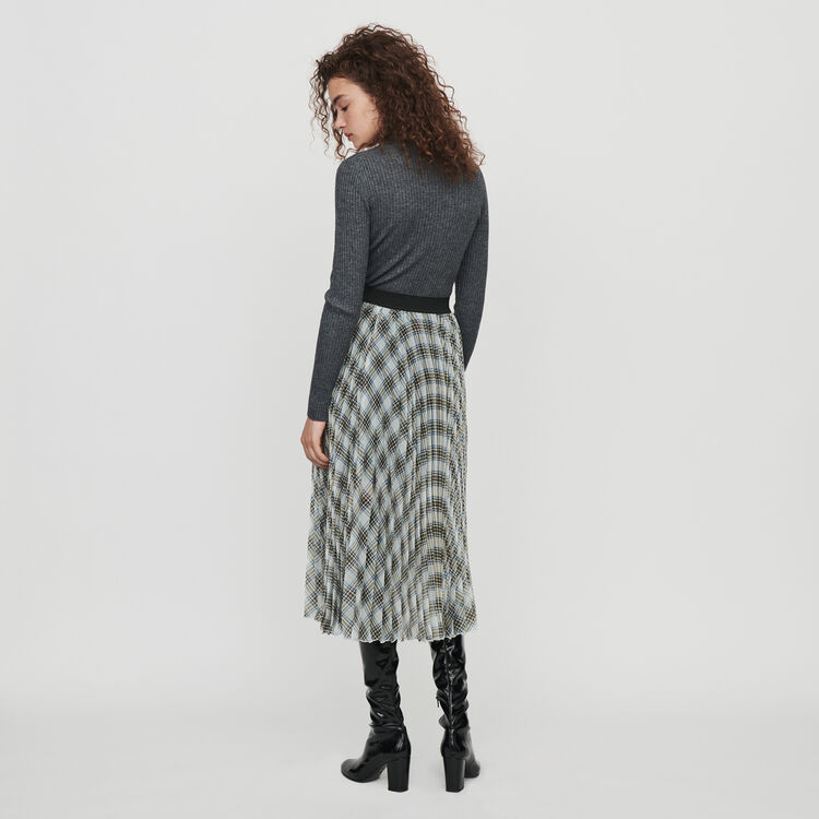 Plaid pleated organza skirt : Winter collection color Multico